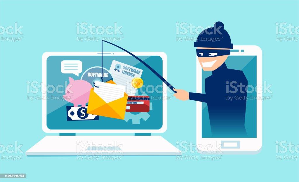 Vektor-Konzept der Phishing-Betrug, Hacker-Angriff und Web-Sicherheit – Vektorgrafik