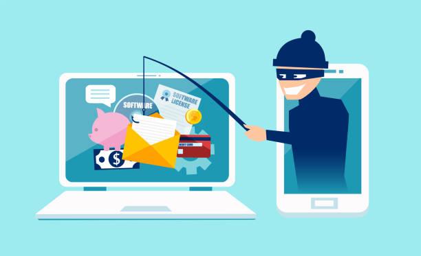 ilustrações, clipart, desenhos animados e ícones de conceito de vetor de phishing scam, segurança de web e ataque de hacker - roubo de identidade