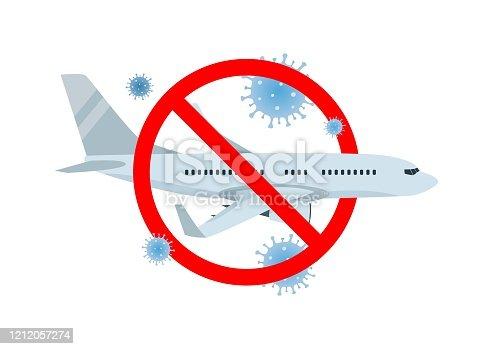istock Vector concept of travel cancellation, forbidden airplane flight with coronavirus COVID-19 icons. 1212057274