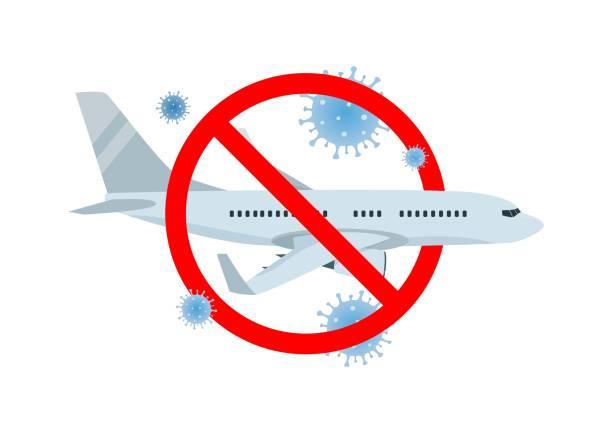 ilustrações de stock, clip art, desenhos animados e ícones de vector concept of travel cancellation, forbidden airplane flight with coronavirus covid-19 icons. - covid flight