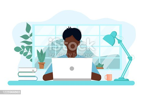 istock Vector concept of work and study at home 1225966863