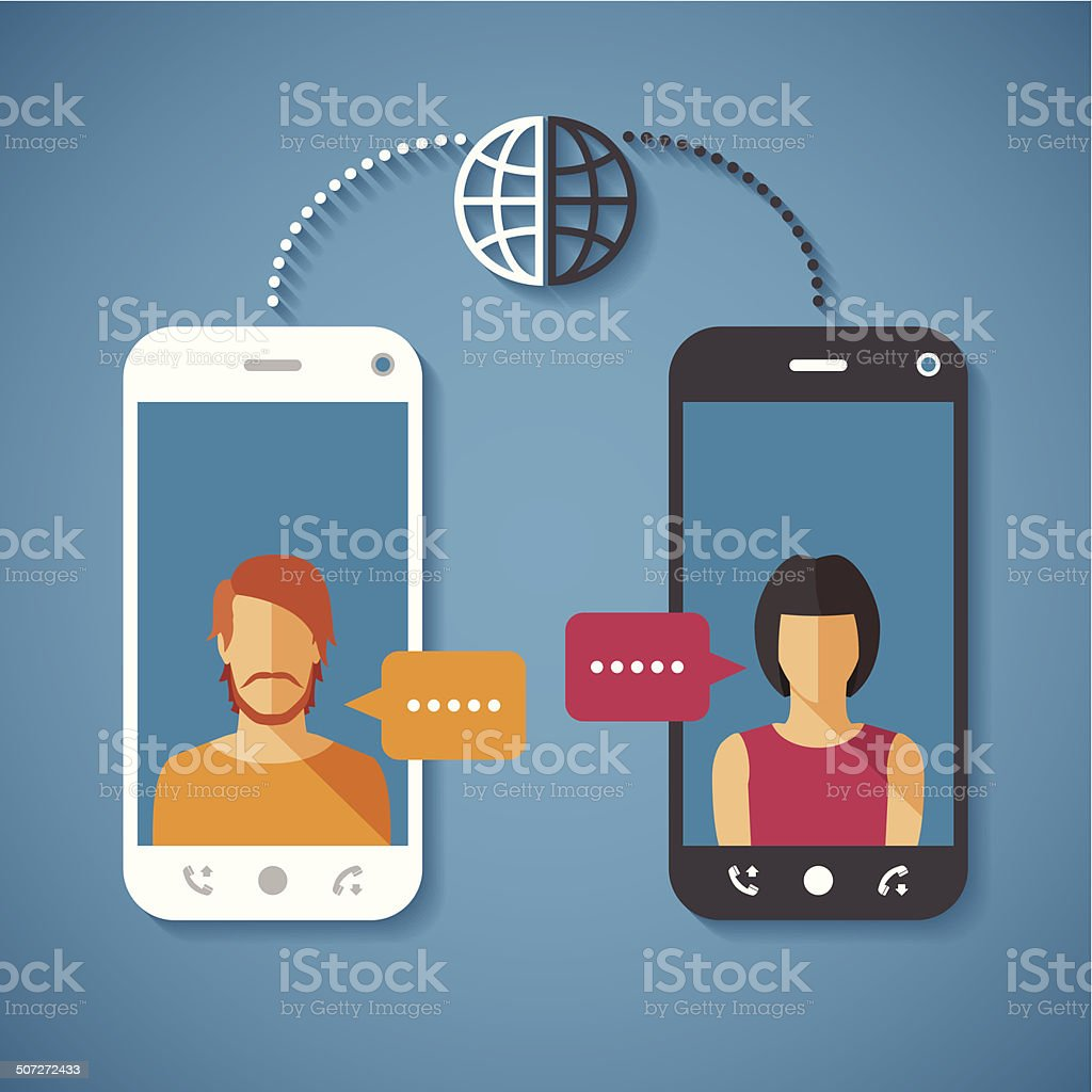 Vector concept of world global communication with long distance vector art illustration