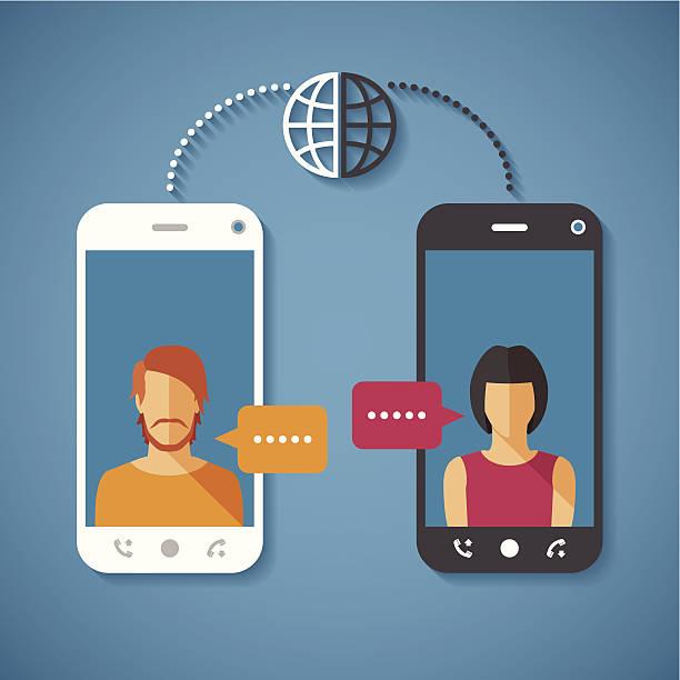 illustrazioni stock, clip art, cartoni animati e icone di tendenza di vettore concetto di comunicazione globale in tutto il mondo con lunga distanza - video call