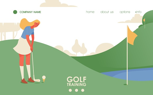 Vector concept sport scene with young blonde woman training on golf court. Flat character, landscape and green grass. Landing page or banner template