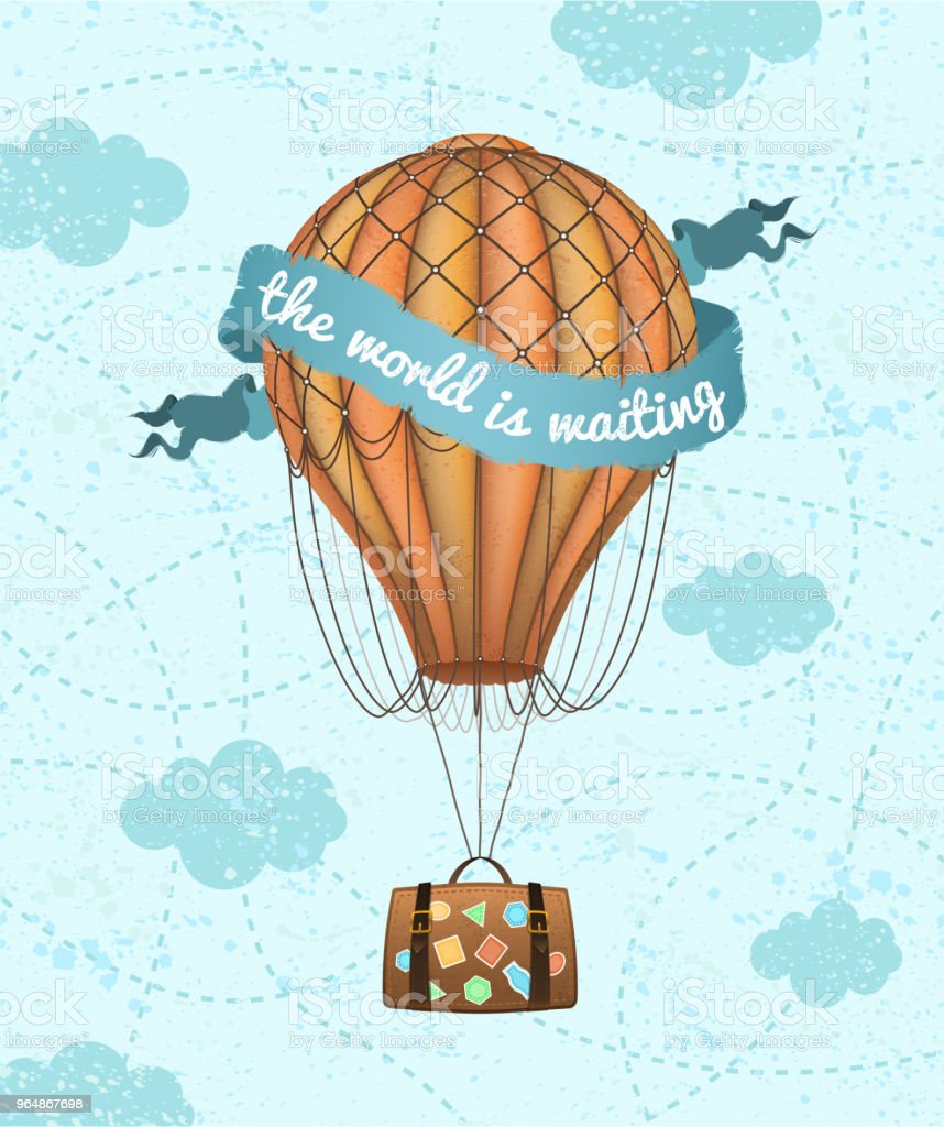 Vector conceptual art of hot air balloon with baggage. Concept of travel around the world. Phrase 'the world is waiting' royalty-free vector conceptual art of hot air balloon with baggage concept of travel around the world phrase the world is waiting stock vector art & more images of adventure