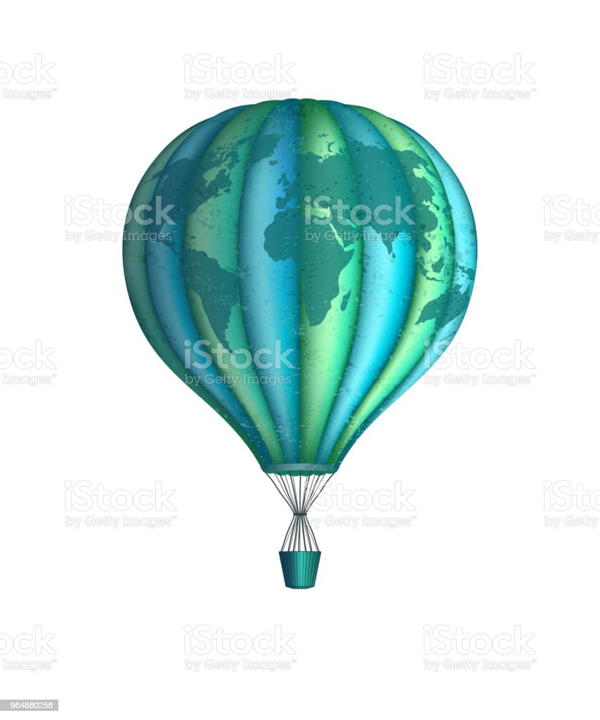 Vector conceptual art of hot air balloon with world map. Concept of travel around the world isolated on white royalty-free vector conceptual art of hot air balloon with world map concept of travel around the world isolated on white stock vector art & more images of abstract