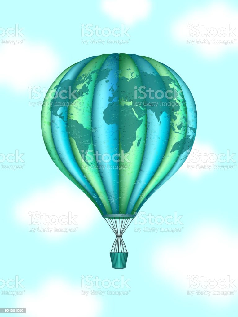 Vector conceptual art of hot air balloon with world map. Concept of travel around the world royalty-free vector conceptual art of hot air balloon with world map concept of travel around the world stock vector art & more images of abstract