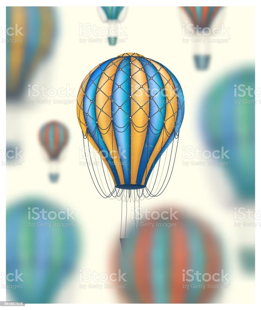 Vector conceptual art of hot air balloons blurred on background. Concept of travel around the world. Vintage style royalty-free vector conceptual art of hot air balloons blurred on background concept of travel around the world vintage style stock vector art & more images of abstract