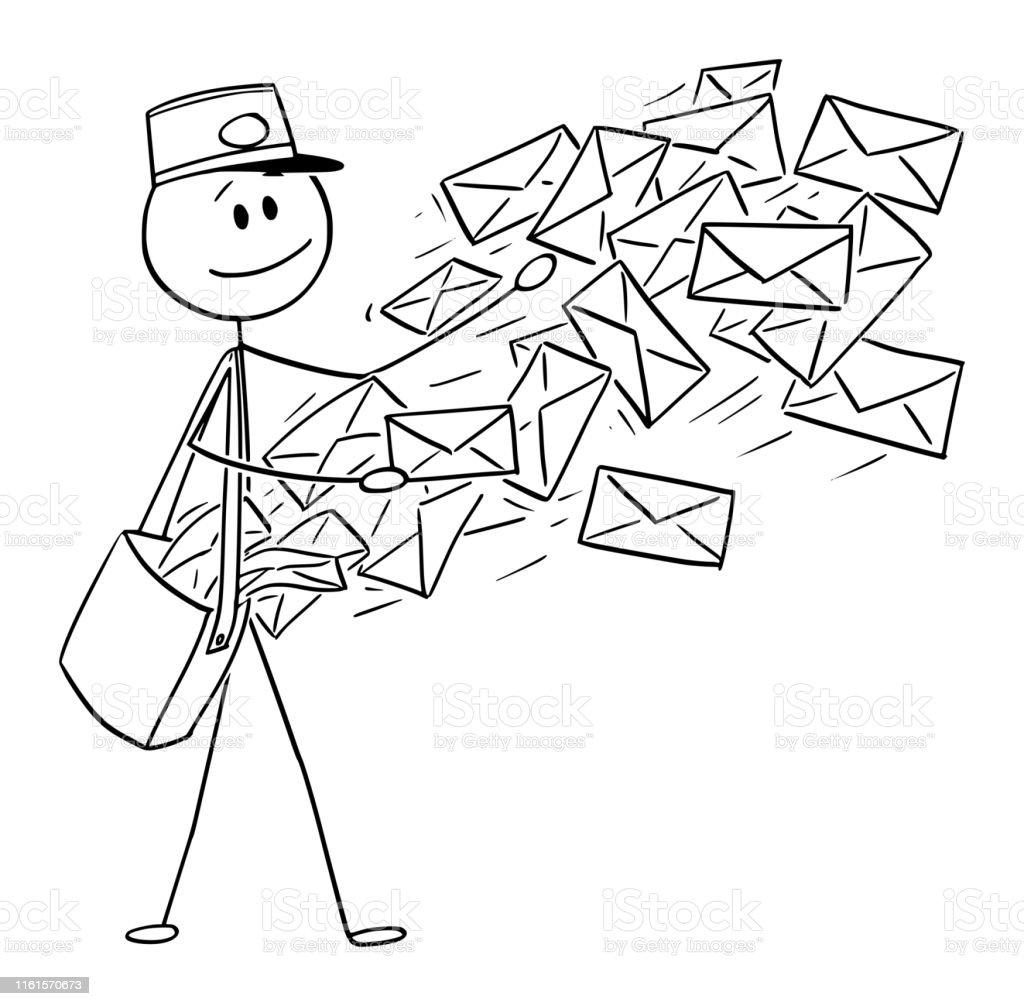 Vector Conceptual Cartoon Of Postman Sending Mail Or Post Envelopes Stock Illustration ...