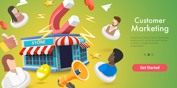 3D Vector Conceptual Illustration of Customer Marketing Campaign.