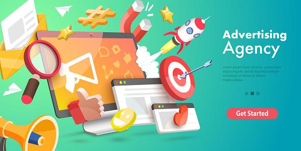 3D Vector Conceptual Illustration of Digital Marketing Agency.