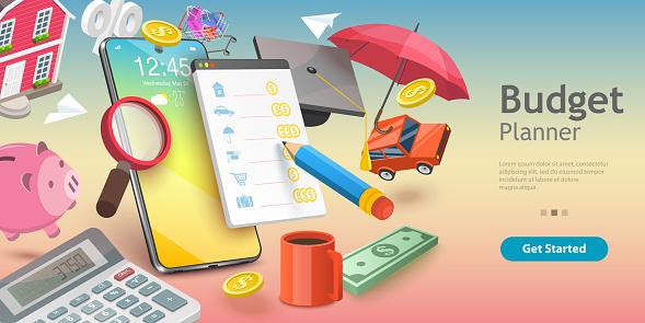 3D Vector Conceptual Illustration of Family Budget Management.