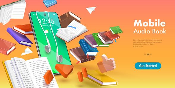 3D Vector Conceptual Illustration of Mobile Audio Book, Online Education.