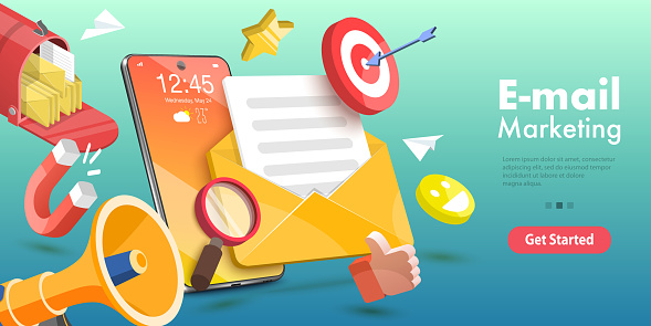 3D Vector Conceptual Illustration of Mobile Email Marketing and Advertising Campaign.