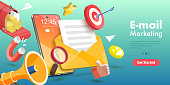 istock 3D Vector Conceptual Illustration of Mobile Email Marketing and Advertising Campaign. 1281135865