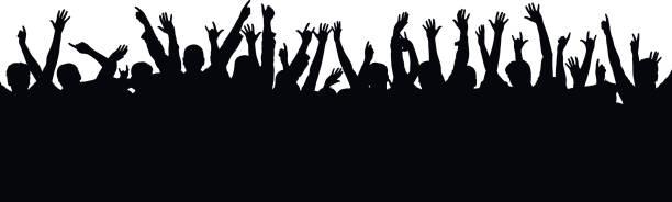 illustrazioni stock, clip art, cartoni animati e icone di tendenza di vector concert crowd - concerto