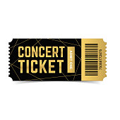 Golden, black vector live, music, dance concert, festival ticket template, gold, black realistic 3d design isolated on white background. Ticket for entrance to event. Icon for web, app.