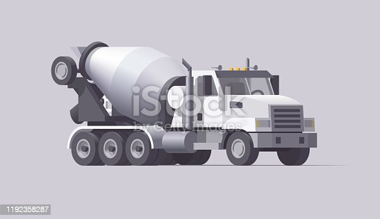 Vector concrete mixer truck. Isolated american cement truck. Flat illustration. Collection