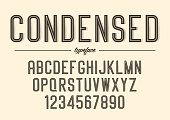 Vector condensed inline font design, alphabet, typeface, typogra