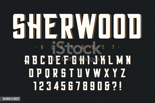 Vector condensed original display font design, alphabet, character set, letters and numbers. Swatch color control.
