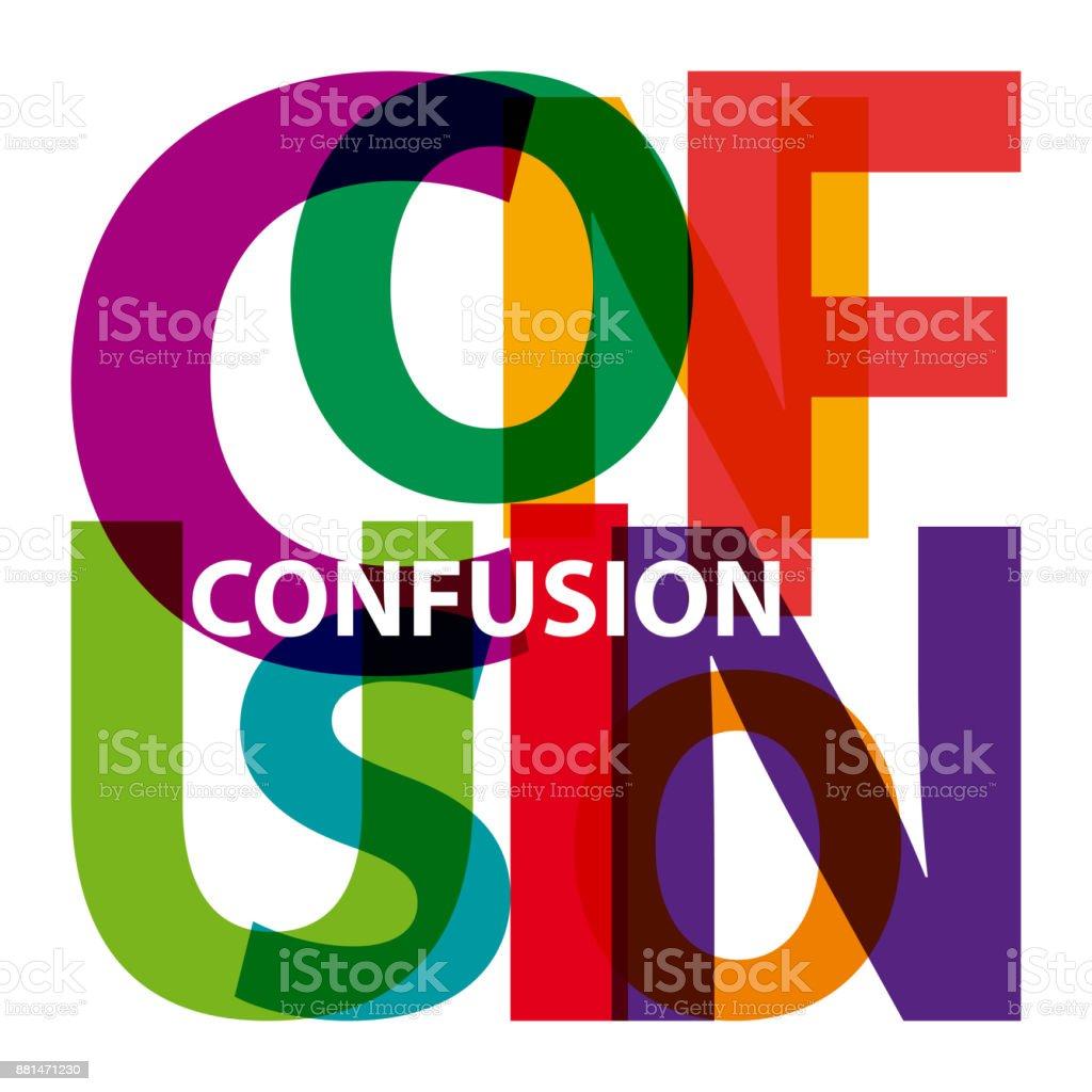 Vector confusion. Broken text vector art illustration