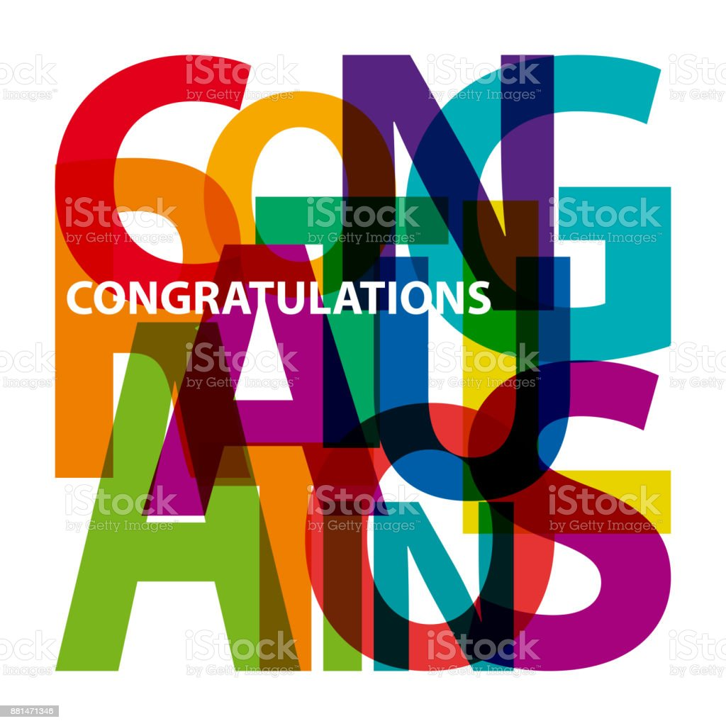 Vector congratulations. Broken text vector art illustration