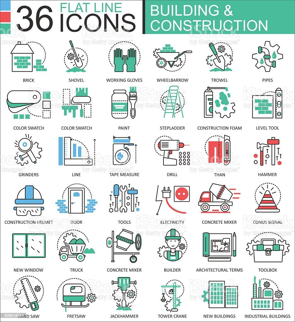 Vector Construction and building tools modern color flat line outline vector art illustration