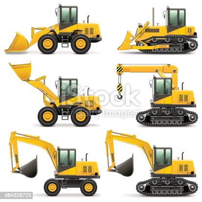 Vector construction machines icons, including bulldozer, excavator, tractor, isolated on white background