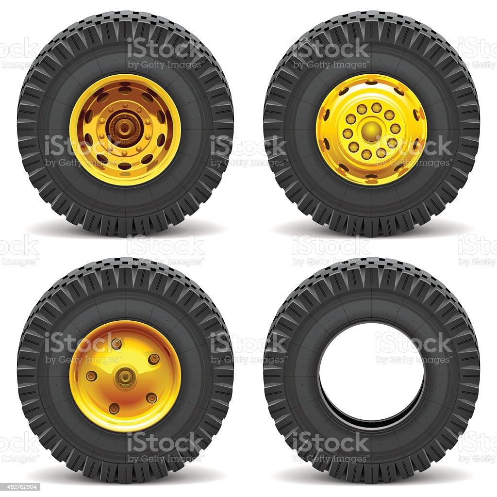 Vector Construction Machines Wheels vector art illustration