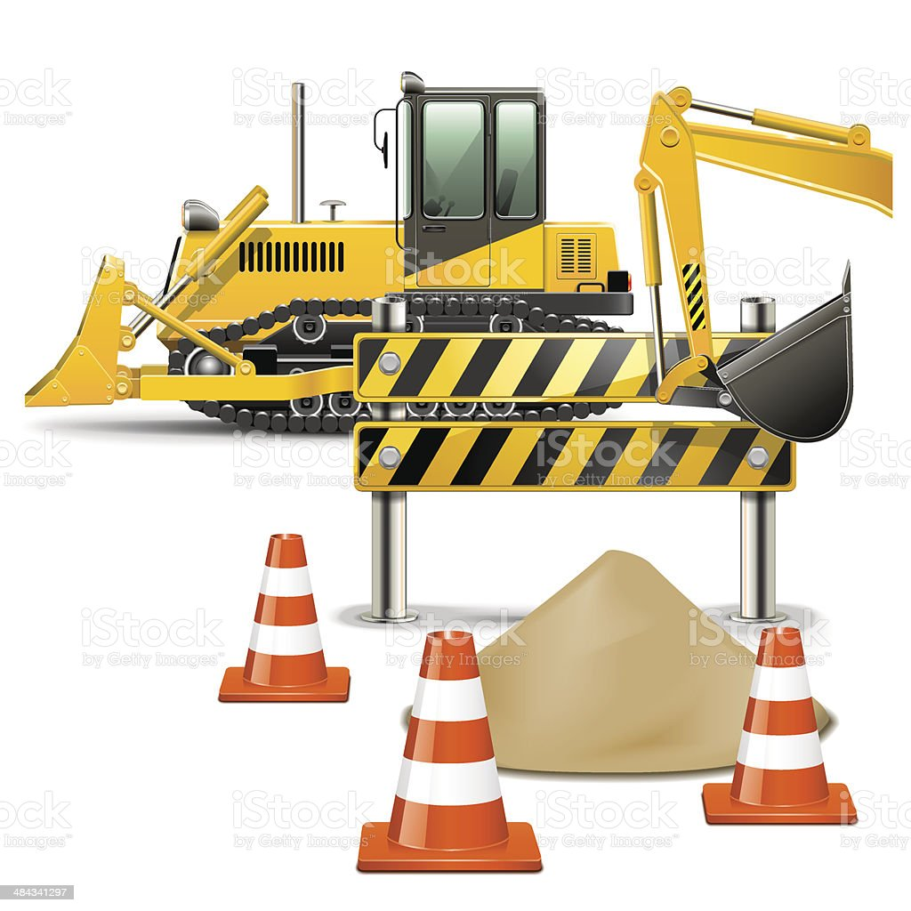 Vector Construction Machines with Barrier vector art illustration