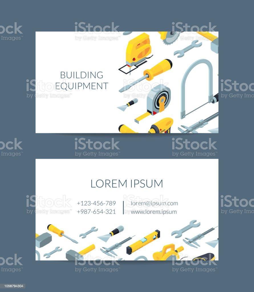 Modele De Carte Visite Vector Construction Outils Isometrique Icones Pour Lillustration La