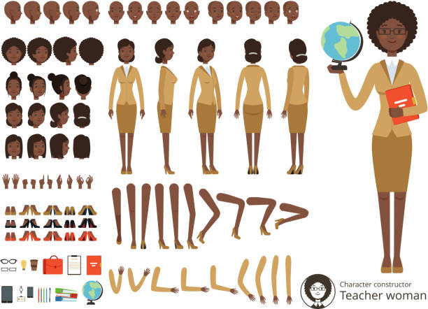 Vector constructor of female character. Afroamerican teacher pointing. Vector different body parts and elements set vector art illustration