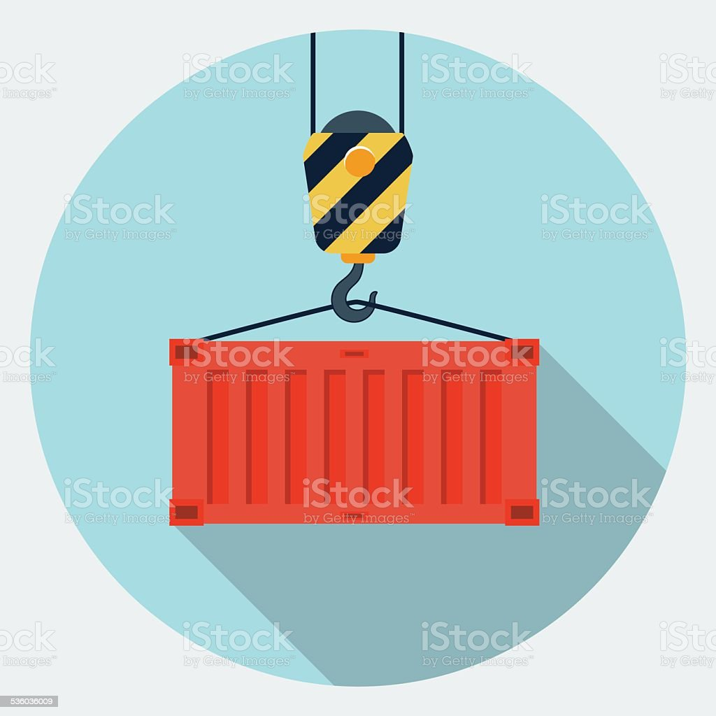 Vector container hanging on crane hook icon vector art illustration