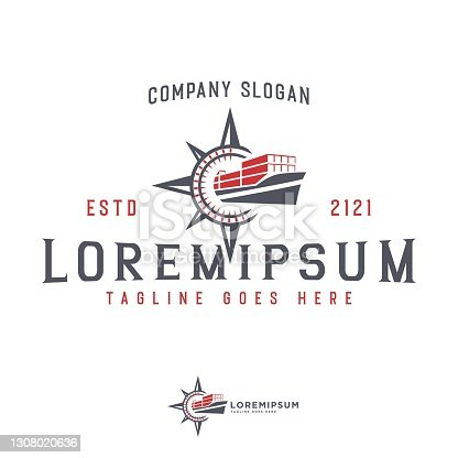 Logo Design of Vector container ship and compass Abstract. Vector Icon Line Art Design Template