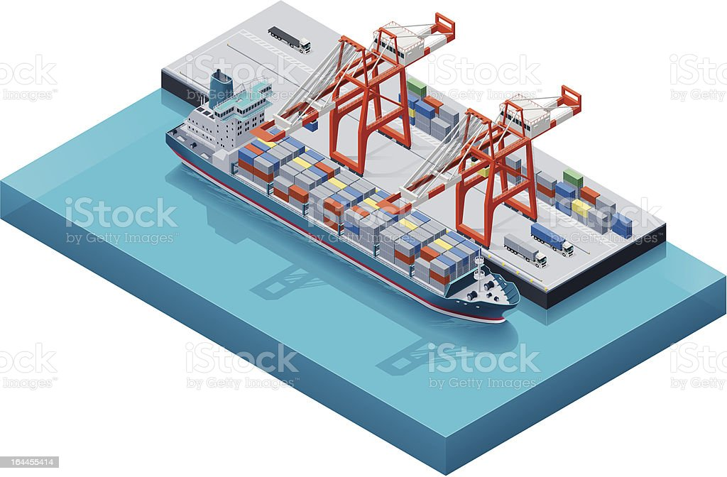 Vector container ship with cranes vector art illustration