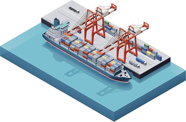 ilustrações de stock, clip art, desenhos animados e ícones de navio de recipiente de vetor com guindastes - porto