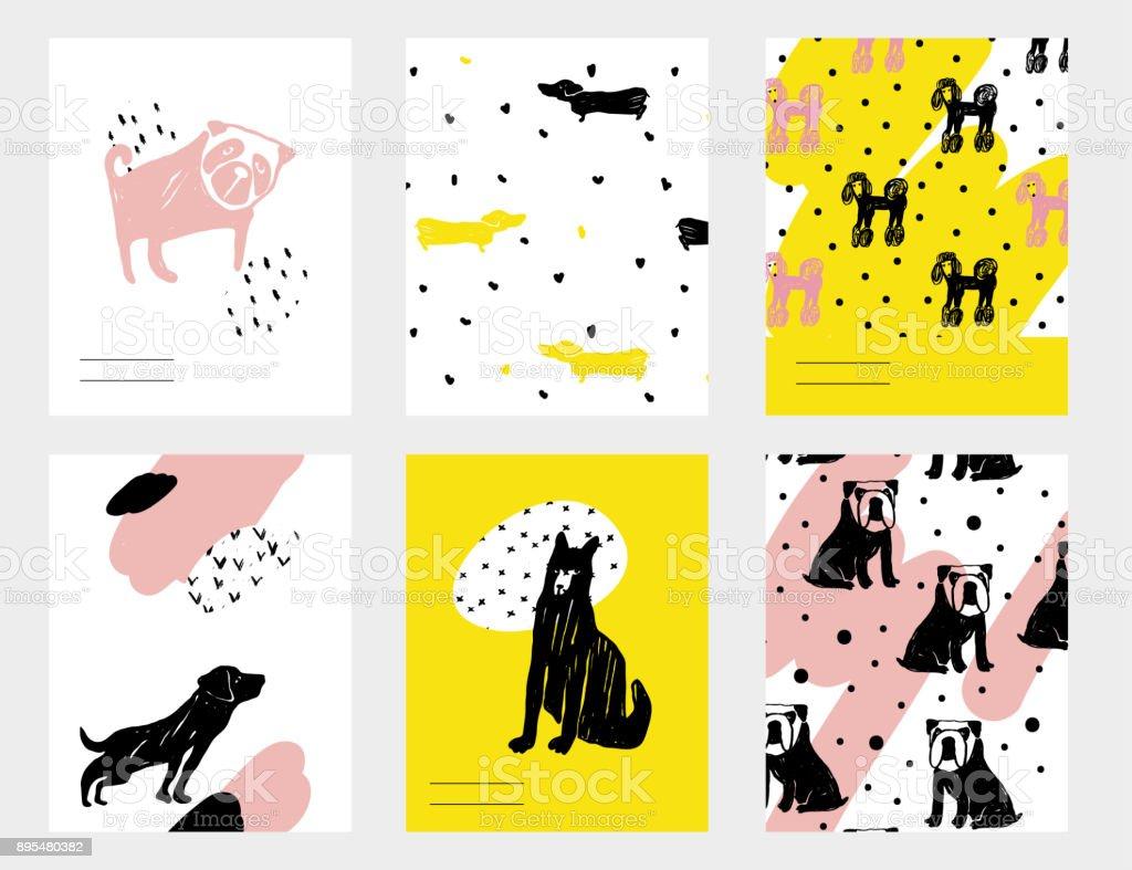 Vektor Zeitgenössische Kartenset Mit Lustige Hunde. Hand Gezeichneten  Vorlage Mit Dackel, Mops, Bulldogge