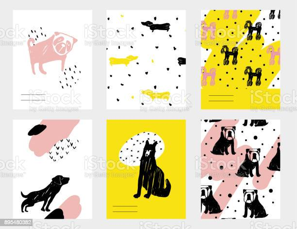 Vector contemporary card set with funny dogs hand drawn template with vector id895480382?b=1&k=6&m=895480382&s=612x612&h=s4gnalnnkjrf9o6jlypmnx2yfv1jgnkv9koxpjv5j9w=