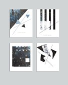 Vector contemporary geometrical greeting card set. Hand drawn acrylic abstract template for cards, flyers, brochures, business, birthday, anniversary, wedding, party invitation, holidays.