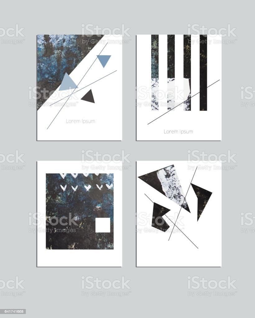 Vector contemporary geometrical greeting card set. Hand drawn acrylic abstract template for cards, flyers, brochures, business, birthday, anniversary, wedding, party invitation, holidays. vector art illustration