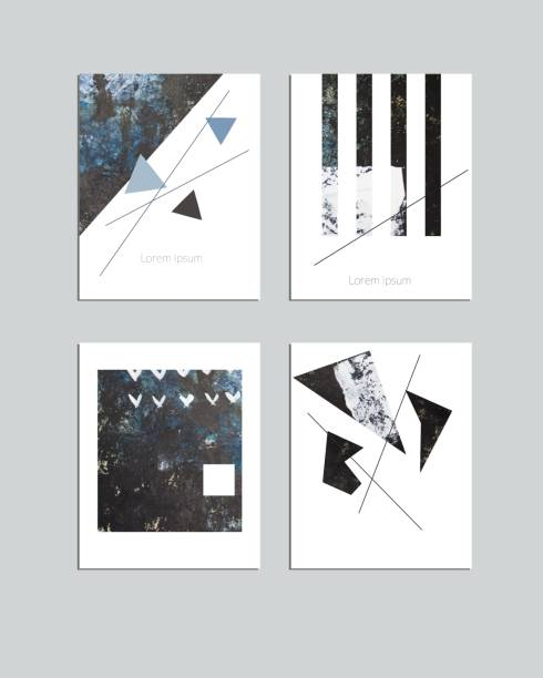 vector contemporary geometrical greeting card set. hand drawn acrylic abstract template for cards, flyers, brochures, business, birthday, anniversary, wedding, party invitation, holidays. - muzyka poważna stock illustrations