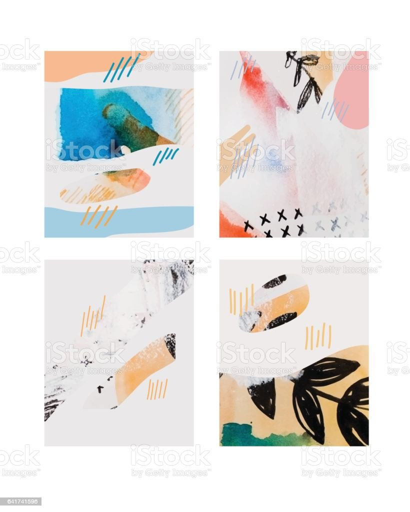 Vector contemporary greeting card set. Hand drawn watercolor abstract template for business, birthday, anniversary, wedding, party invitation, holidays. vector art illustration