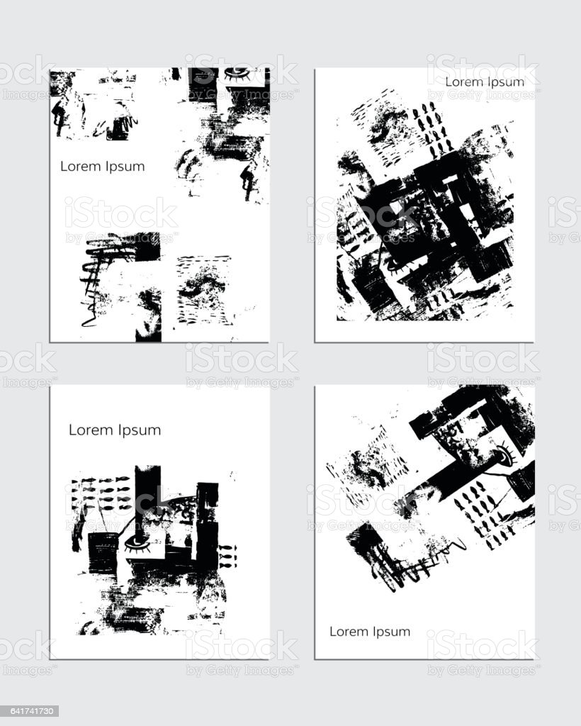 Vector Contemporary Textured Greeting Card Set Hand Drawn Black And