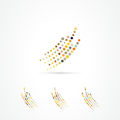 Vector continuous dots pattern icon collection