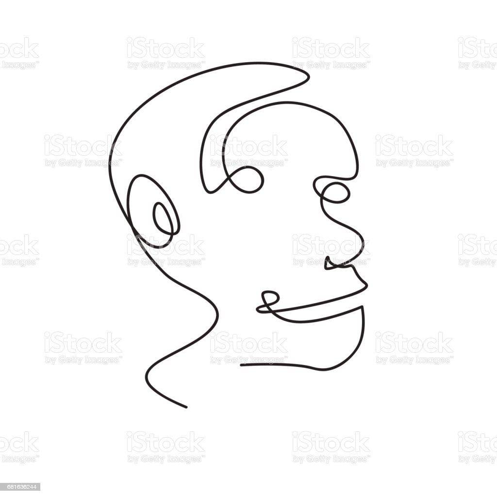 Abstract Face Line Drawing : Vector continuous line abstract portrait of a man stock