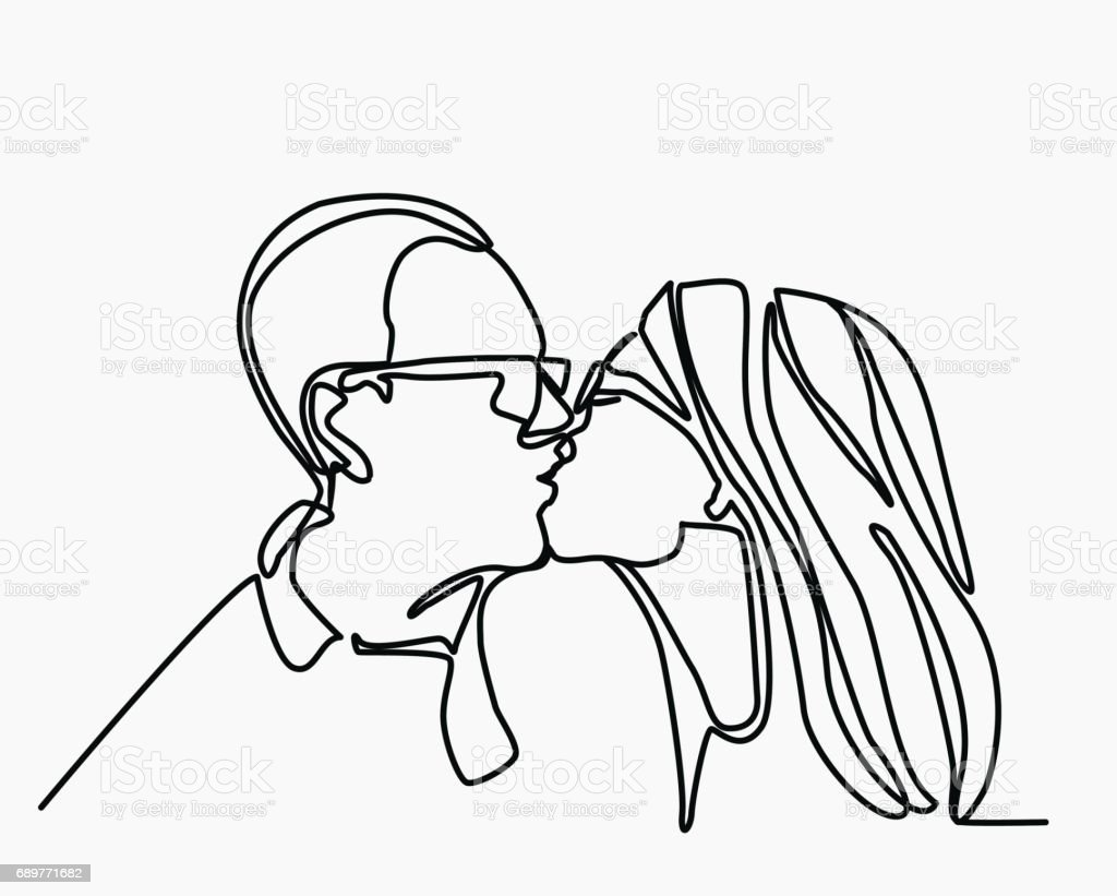 Vector continuous line drawing of kissing couple. A man kisses a woman. vector art illustration