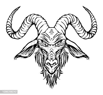 vector contour drawing of horned goat head