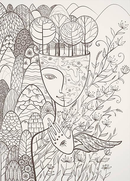 ilustrações, clipart, desenhos animados e ícones de ilustração em vetor contorno da deusa da mãe natureza - texturas de riscos
