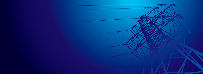 Vector contour silhouette. Substation, powerhouse. High-voltage line. Blue background, cover. Sky. Poles cable Background