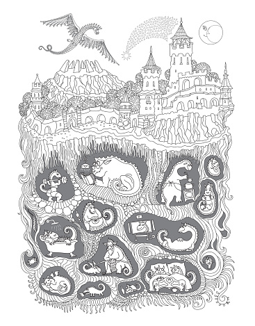 Vector contour thin line illustration. Fairy tale castle, old medieval town and Dragon beast cave underground nest. Black and white hand drawn sketch. Adults coloring book page, tee shirt print